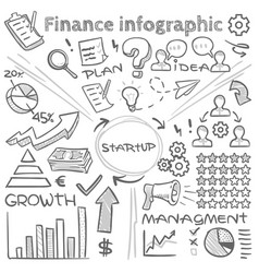hand drawn finance infographics with doodle vector image