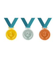 medals from gold silver and bronze vector image vector image
