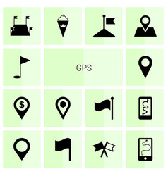 14 gps icons vector image