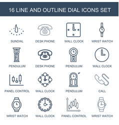 16 dial icons vector image