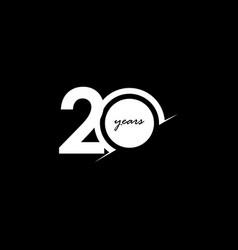 20 years anniversary celebration number white vector