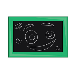 a blackboard with chalk pencil drawings smiley vector image