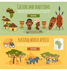 Africa 2 flat banners set vector image