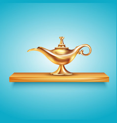 Aladdin lamp on pedestal composition vector