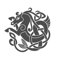 ancient celtic mythological symbol sea horse vector image