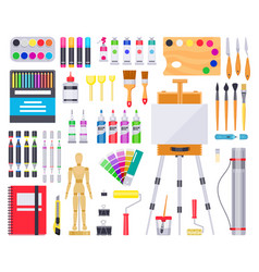 art supplies painting and drawing materials vector image