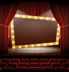 Banner with light bulbs on the stage of the cinema vector