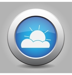 Blue metal button with weather - partly cloudy vector