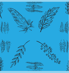 blue seamless pattern with hand drawn branches vector image