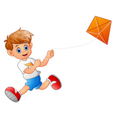 boy cartoon playing kite vector image