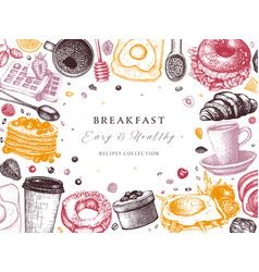 Breakfast table top view frame in color morning vector