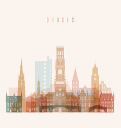 Bruges skyline detailed silhouette vector
