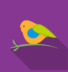 Bullfinch sitting on a branch icon in flat style vector