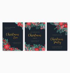 Bundle of christmas eve party invitation festive vector