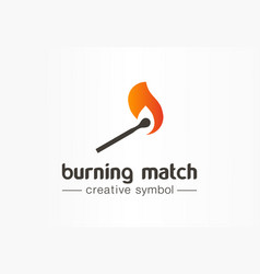 burning match creative fire symbol concept danger vector image