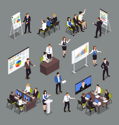 Business coaching isometric icons set vector