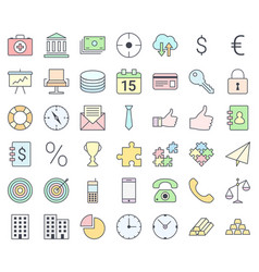 business simple thin icon set filling with pastel vector image