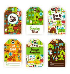 camping gift tag set vector image