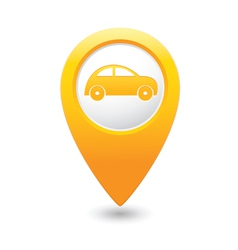 Car icon on map pointer yellow vector