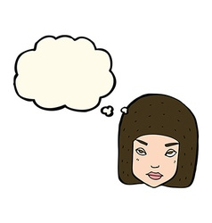 Cartoon annoyed female face with thought bubble vector