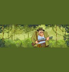 cartoon man hunter with a gun walking through vector image