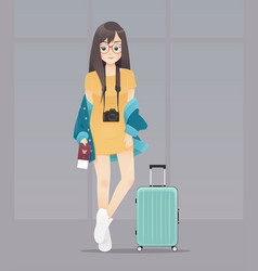 cartoon woman with passport and luggage on gray vector image
