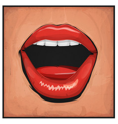 comic books girl mouth with red lipsticks vector image