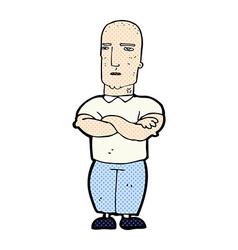 comic cartoon annoyed bald man vector image