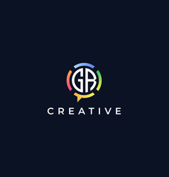 Creative chat initial letters gr logo vector