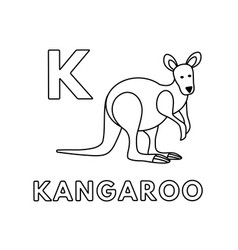 cute cartoon animals alphabet kangaroo vector image