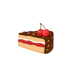 Delicious yummy cake with cherry chocolate cream vector