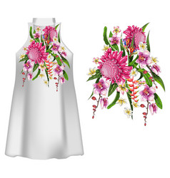 Design dress with tropical flowers vector