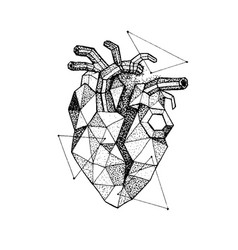 Dotwork polygonal broken heart vector