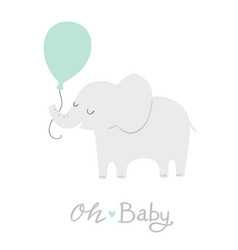 Elephant with a mint green balloon oh baby vector