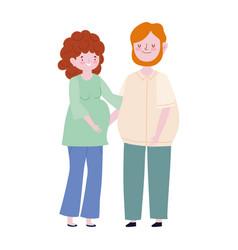 family pregnant woman and man member cartoon vector image