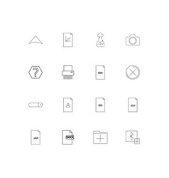 Files and folders sign simple linear icons set vector