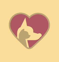 Flat icon on background cat dog heart vector
