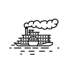 flat linear retro steamboat vector image
