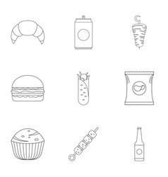 Floury icons set outline style vector