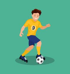 football player kicks ball vector image