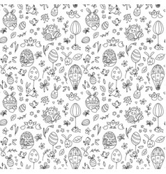 Funny happy easter seamless pattern background vector