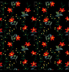 garden botanical red flowers seamless pattern vector image