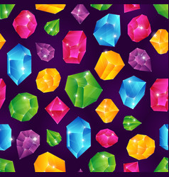 gem seamless pattern colored diamonds jewels vector image