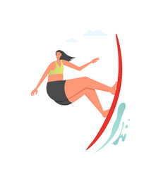 Girl surfing wave flat style design vector