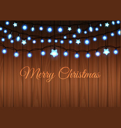 glowing garland set on wood background vector image