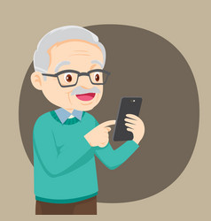 Grandfather with smartphone vector
