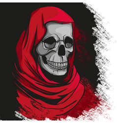 grim reaper in red robe portrait vector image