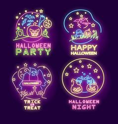 halloween neon logo collection vector image