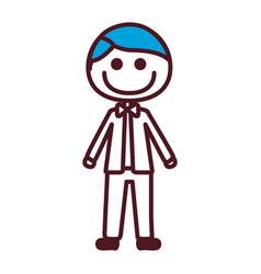 Hand drawing silhouette caricature man blue hair vector