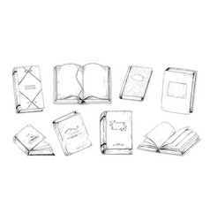 Hand drawn books vintage engraving of student vector